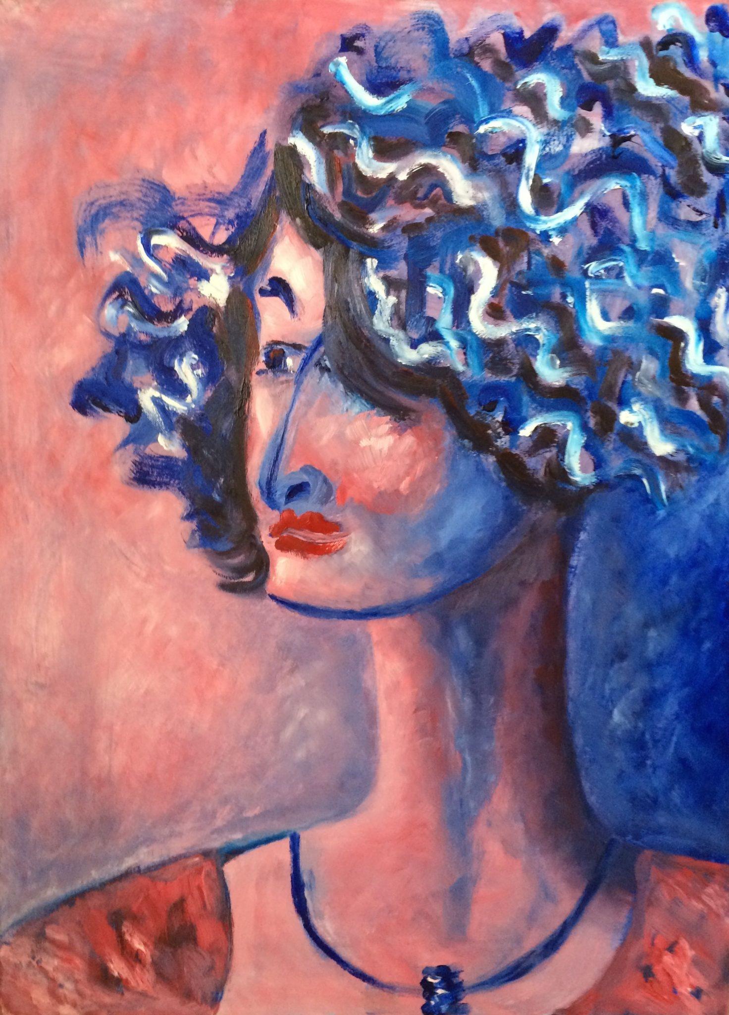 Irene on Pink painting | Olga Bakhtina