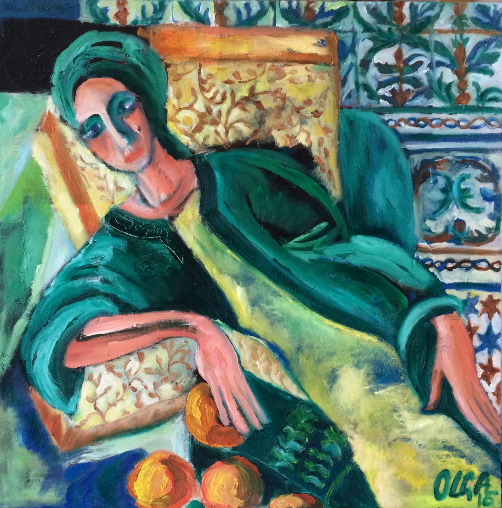 Green Siesta painting | Olga Bakhtina