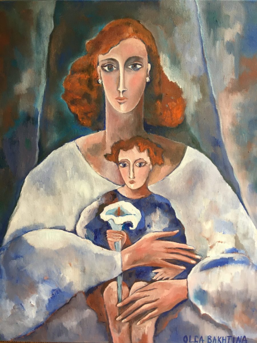 Mother and Child with a Lily painting | by Olga Bakhtina