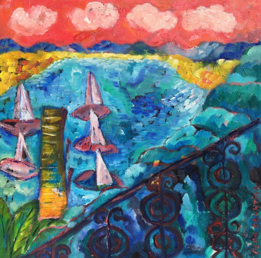 View form the balcony painting   by Olga Bakhtina