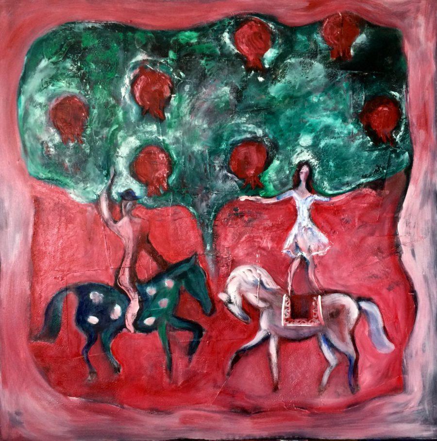 Horse-riders in pomegranate garden painting | by Olga Bakhtina